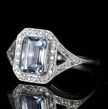 aquamarine diamond ring art deco 2 5 carat emerald cut aquamarine