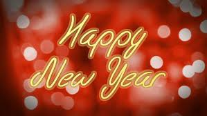 shiny happy new year congratulation message on colorful background