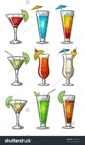 alcohol cocktail set vintage vector engraving stock vector