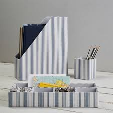 Blue Desk Accessories Fabric Desk Accessories Set Of 3 Blue Ticking Stripe Pbteen