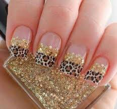 glitter gold nails with leopard nails pictures photos and images
