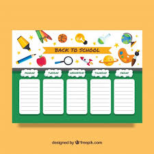 back to timetable template vector free download