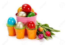 painted easter buckets painted easter eggs in tin buckets and tulips stock photo picture