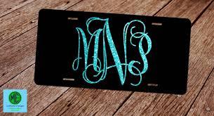 monogrammed plate glitter monogram license plate faux glitter license plate