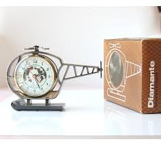 vintage alarm clock helicopter clock new old stock wind up