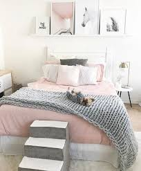 light pink room decor i love the side tables the doggie steps and the pillow set up