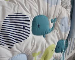 8 pieces baby bedding set embroidery 3d ocean whale baby crib