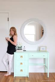Desk And Vanity Combo Mint Desk Makeover Love Grows Wild