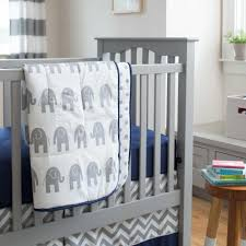 navy and gray elephants crib comforter carousel designs