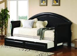 White Wood Daybed With Trundle Furniture Black Wooden Daybed Using Black Leather Back Plus White