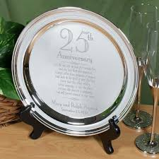 25th anniversary plates engraved 25th wedding anniversary silver plate this beautiful