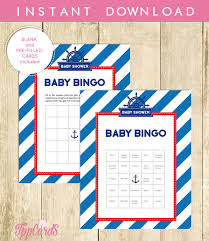 anchor theme baby shower nautical baby shower bingo cards blank bingo cards bingo