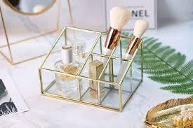 Makeup Bathroom Storage Bathroom Storage Gold Hold Glass Makeup Organizer Bathroom Decor
