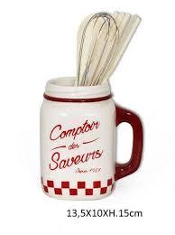 pot ustensiles cuisine pot à ustensiles rétro jar blanc accessoires cuisine