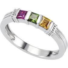 mothers ring silver 1 to 3 square stones stackable s ring