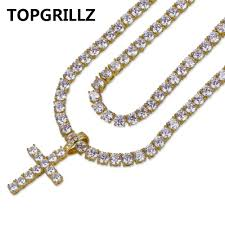 all diamond necklace images Topgrillz cross pendant necklace all iced out two tennis chains jpg