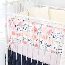 willow blush navy crib bumper by caden lane rosenberryrooms com