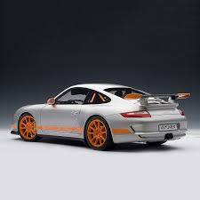 porsche 911 orange porsche 911 997 gt3 rs silver u0026 orange stripes auto art