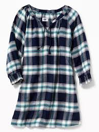 plaid flannel swing dress for girls old navy