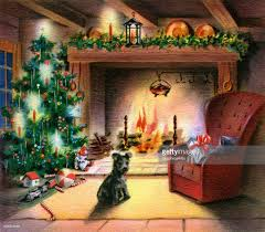 christmas tree by fireplace pictures getty images
