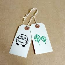 wee hoot printed linocut gift tags featuring a baby owl and
