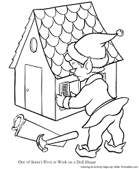 santa christmas coloring pages santa elf making toys