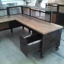 Pine Desk With Hutch Wonderful Custom Reception Desk L Shaped Steel And Beetle Kill