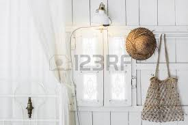 Retro Window Curtains Interior Of Light Modern Wooden House Inside Vintage Window