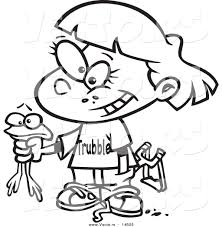 vector of a cartoon tomboy holding a frog coloring page