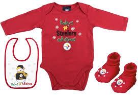 steelers 1st christmas onesie cap u0026 bib set