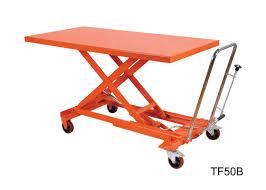 orange mechanical scissor lift hydraulic table cart trolley