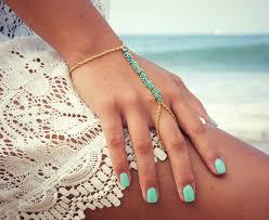 bracelet hand images Lovmely hand chain bracelet slave bracelet turqouise or coral jpg