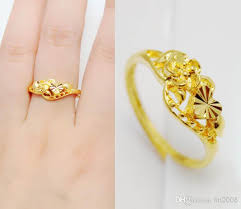gold wedding rings for women 2016 24k heart flower gold filled ring women bridal alluvial gold