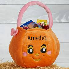 personalized trick or treat bags personalized pumpkin plush trick or treat bag