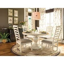 5 pc round pedestal dining table paula deen round dining table dining set 5 piece in linen finish