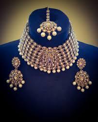 crystal choker necklace set images Tina antique gold plated crystal pearl choker necklace earrings jpg