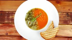 vid駮s de cuisine european cuisine vegetable soup with toasts on white dish