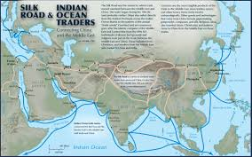 Map Of The Middle East by Silk Road And Indian Ocean Traders Connecting China And The