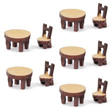new 5 sets of dollhouse miniature resin chair table micro
