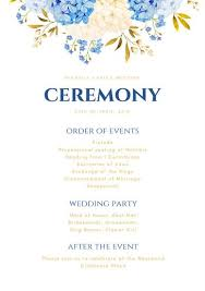 wedding ceremony program order navy blue gold flowers wedding ceremony program templates by canva