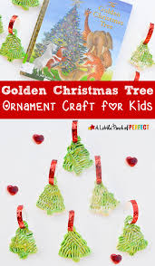 golden christmas tree clay ornament craft for kids