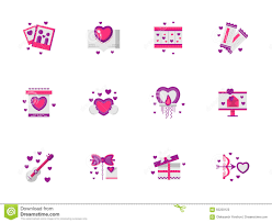 pink flat color bright pink love icons set stock vector image of banner 65259123