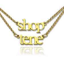 gold plated name necklace layer mini name necklace 18k gold plated