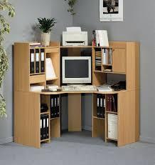 Brown Corner Desk Small Corner Desk With Storage Minimalist Brown Stained Hardwood