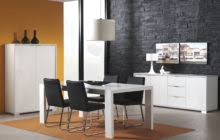 White Parsons Dining Table Square Black Painted Oak Wood Dining Table With White Velvet