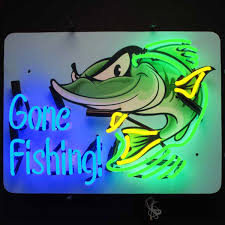 gone fishing grinning fish neon sign lighted garage decor