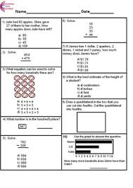 2nd grade common core math assessment short form a 10 questions