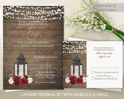 Wedding Invitations With Rsvp Cards Included Lantern Wedding Invitation Set Marsala Wedding Rustic Wedding