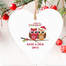 personalised wooden heart decoration christmas owls
