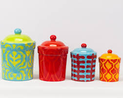 colored kitchen canisters colorful kitchen canisters canister set ceramic pottery il 340x270